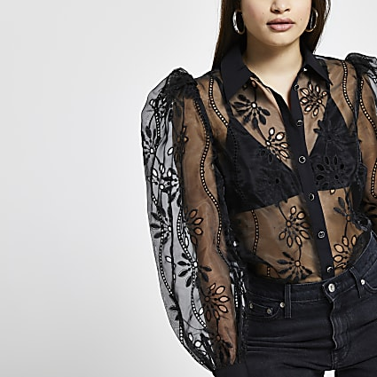 Black floral organza sheer shirt top
