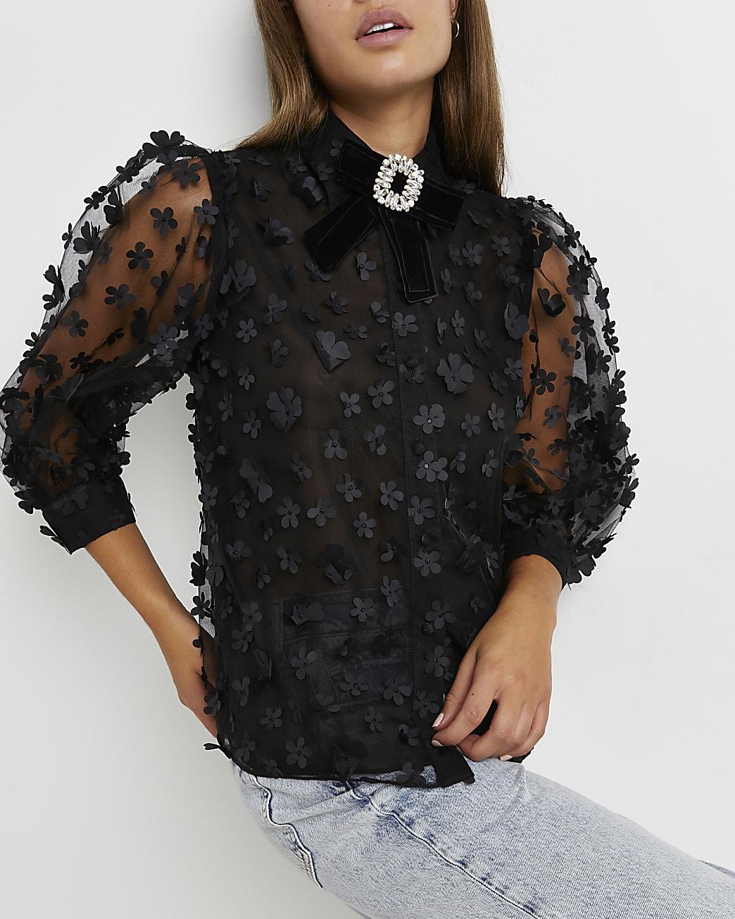 Black floral organza shirt