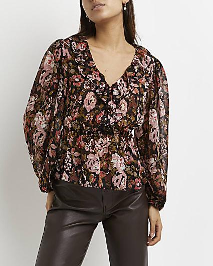 Black floral peplum blouse