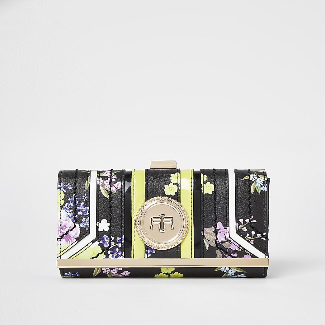 Black floral print coin clip top purse