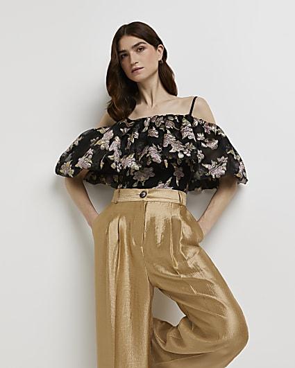 Black floral print cold shoulder top