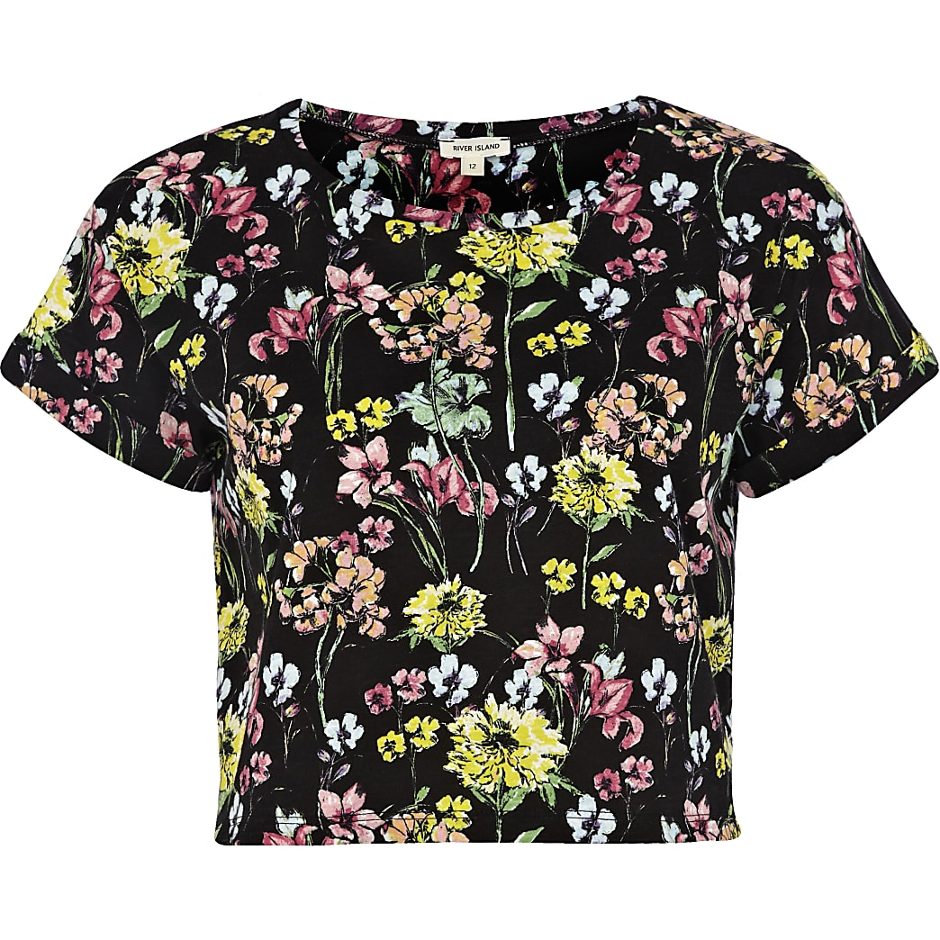 Black floral print cropped t-shirt