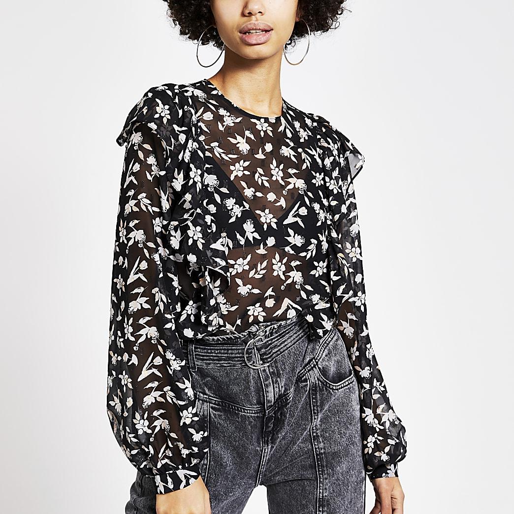 Black floral print frill front sheer blouse