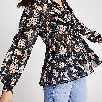 Black floral print frill trim blouse