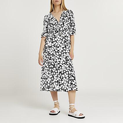 Black floral print frill waist midi dress
