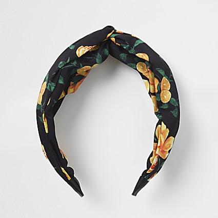 Black Floral print knot headband