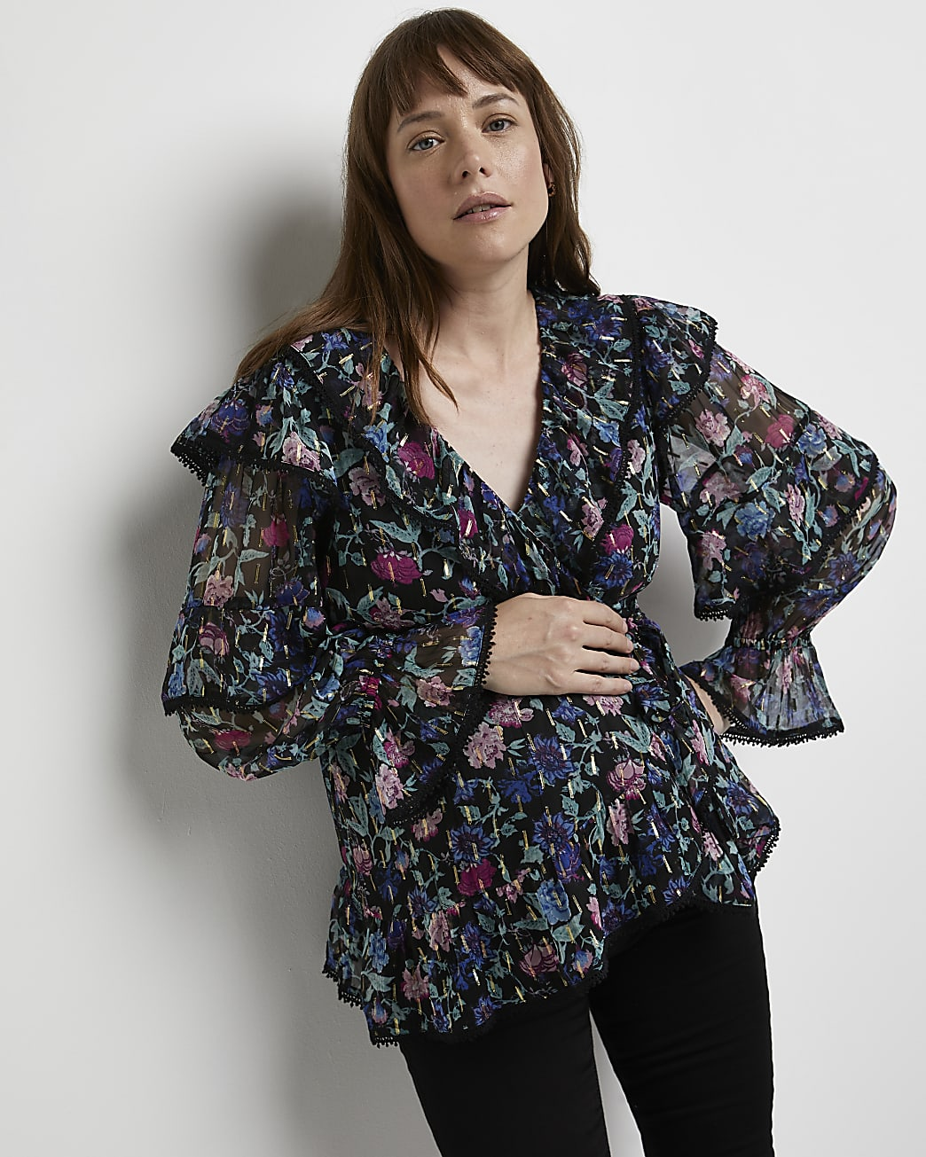 Black floral print maternity blouse
