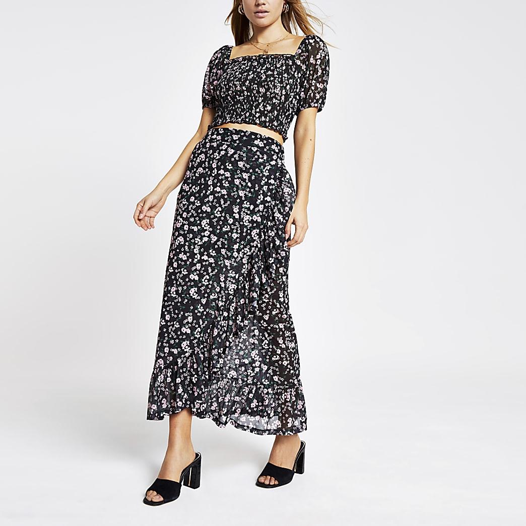 Black floral print mesh frill maxi skirt