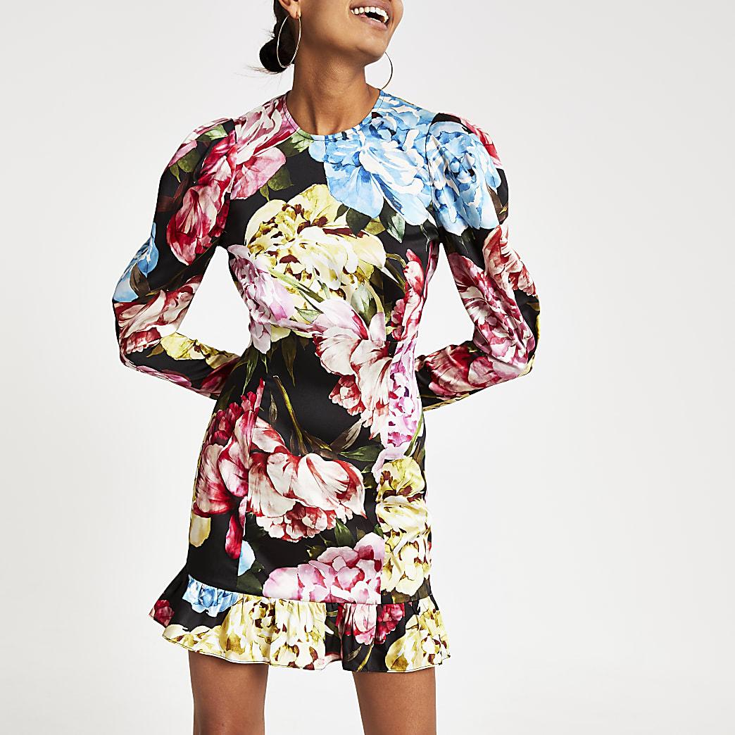 Black floral print mini dress