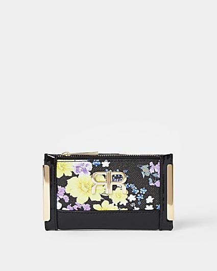 Black floral print mini purse