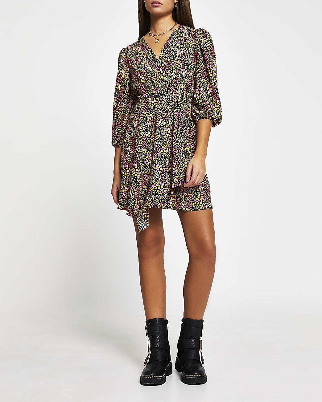 Black floral print mini wrap dress