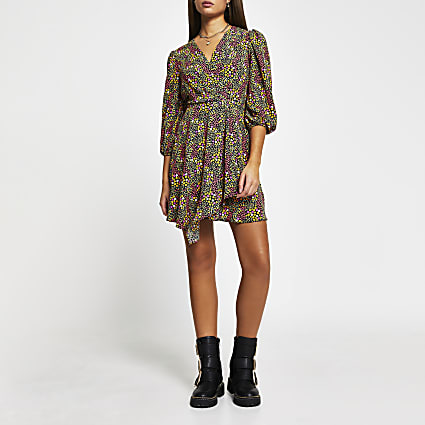 Black floral print mini wrap dress