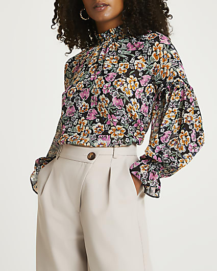 Black floral print ruffled blouse