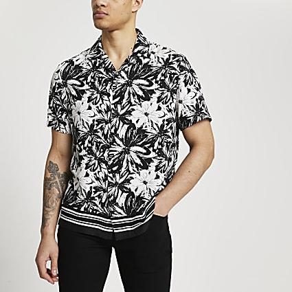 Black floral print short sleeve revere shirt