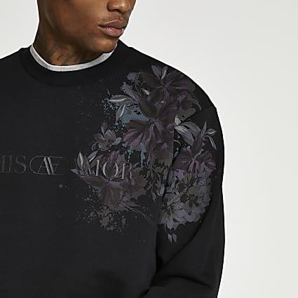 Black floral print sweatshirt