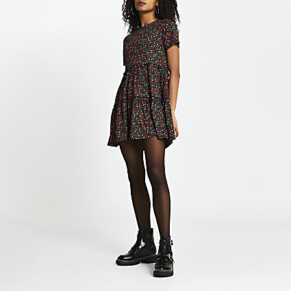 Black floral print t-shirt smock dress