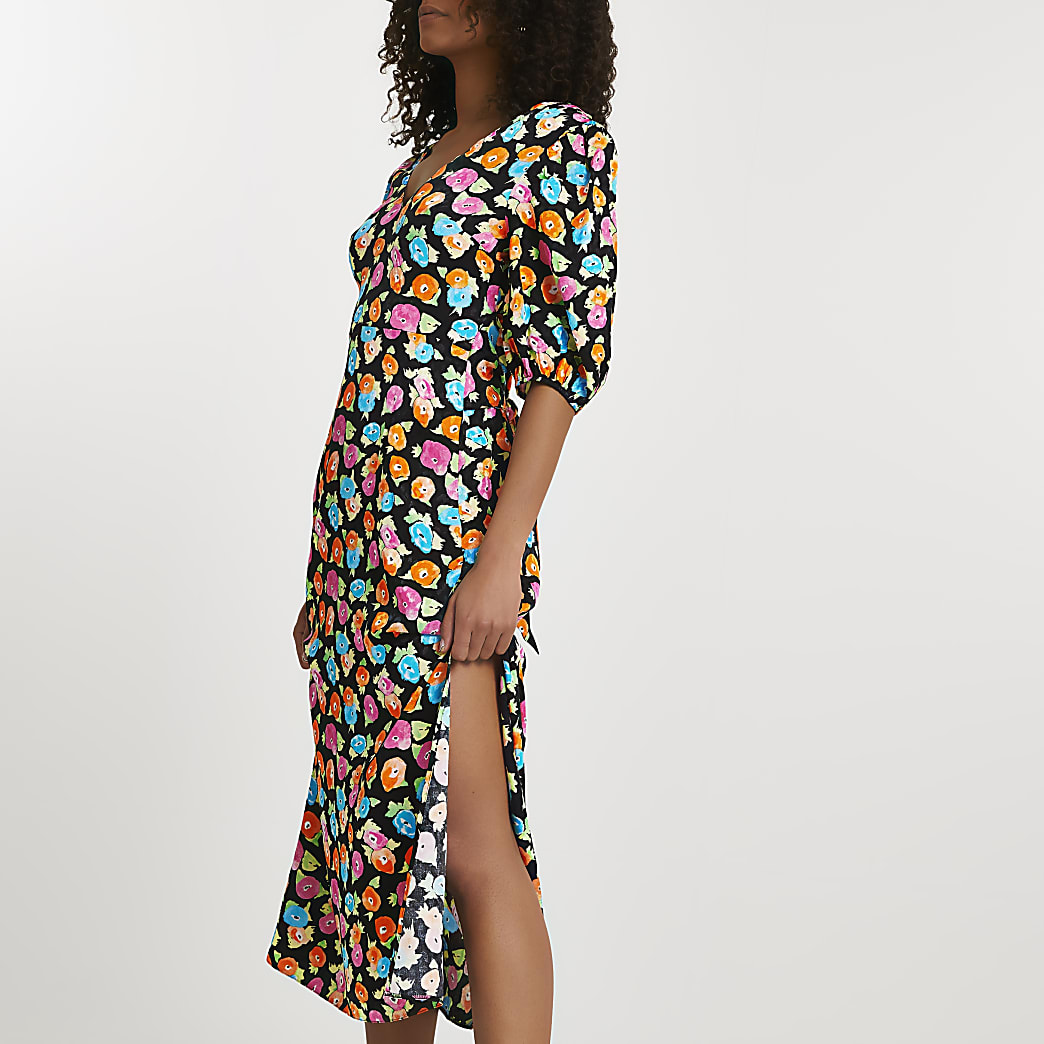 Black floral print tie waist dress