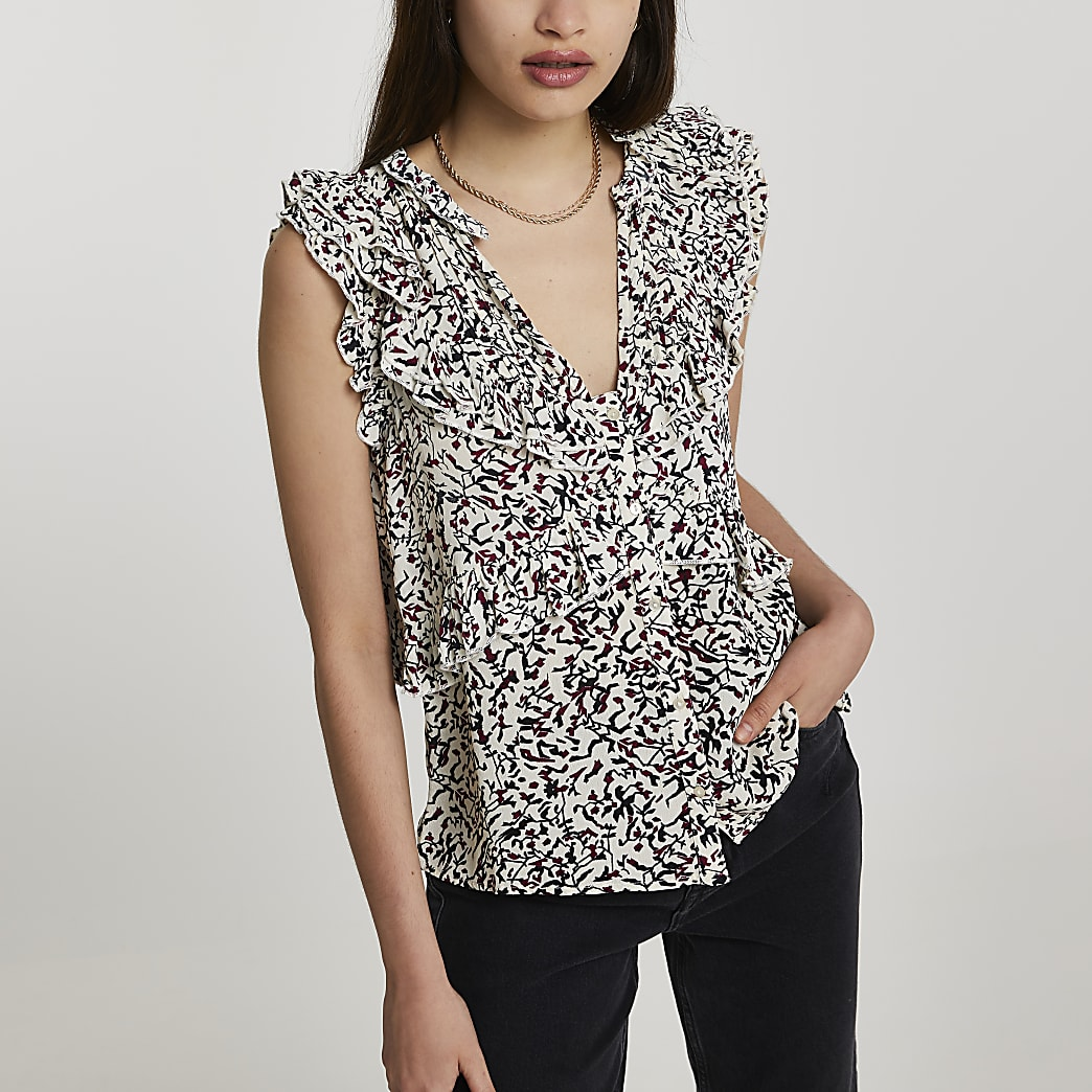 Black floral printed frill front blouse