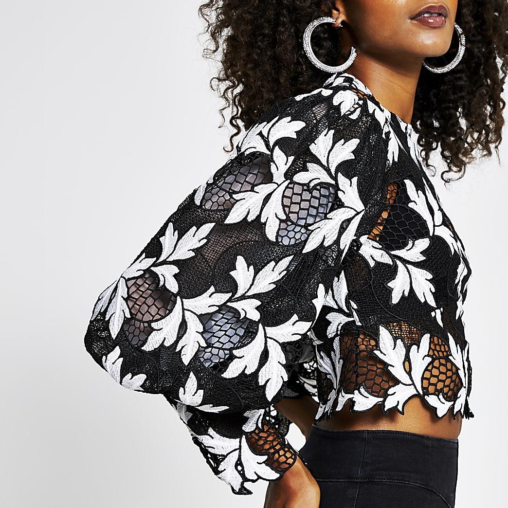 Black floral printed volume sleeve crop top
