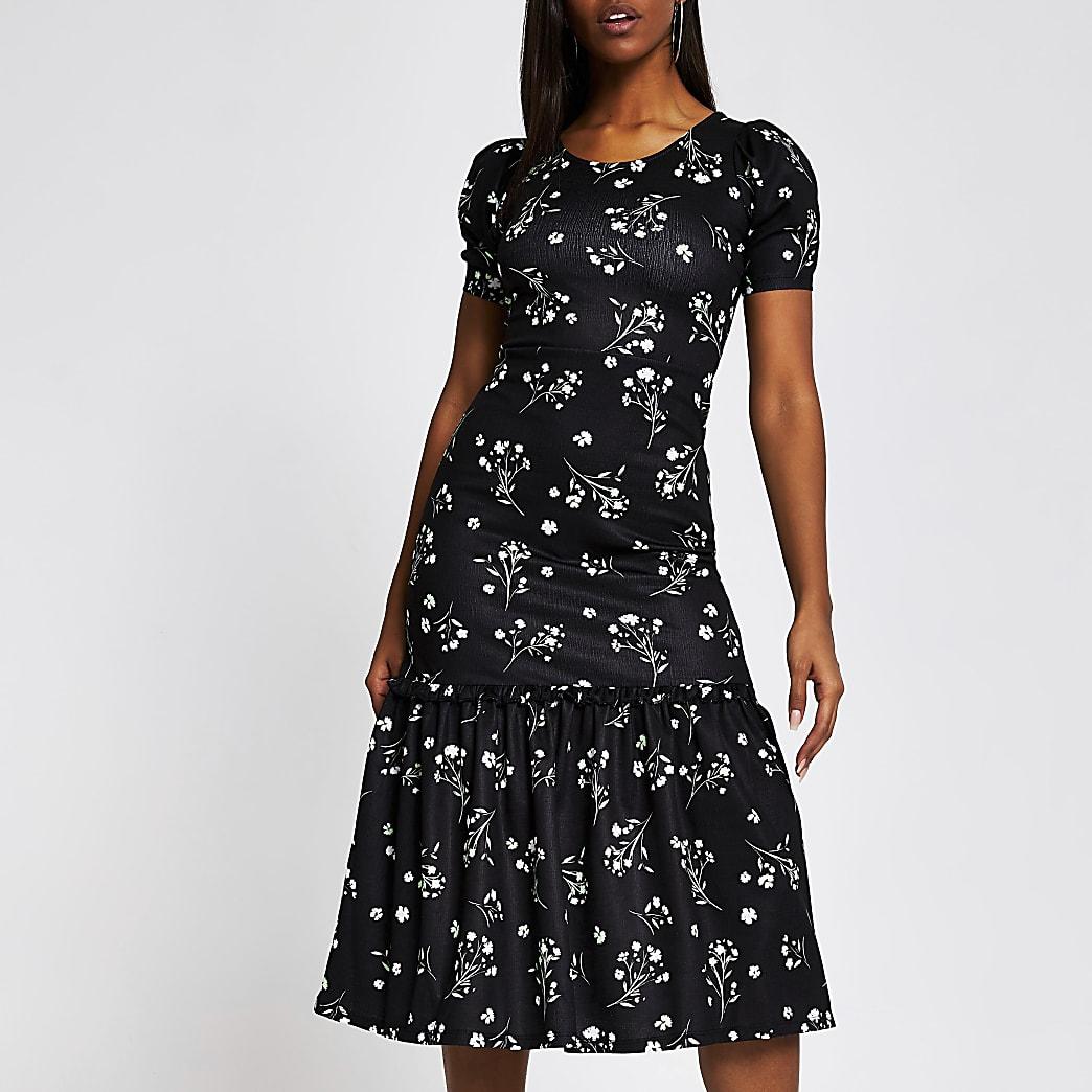 Black floral puff sleeve midi dress