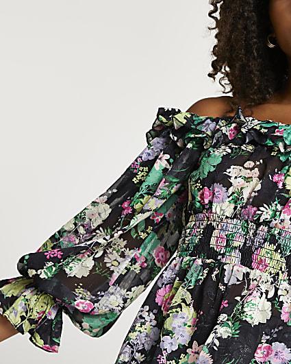 Black floral ruffle shirred waist bardot top
