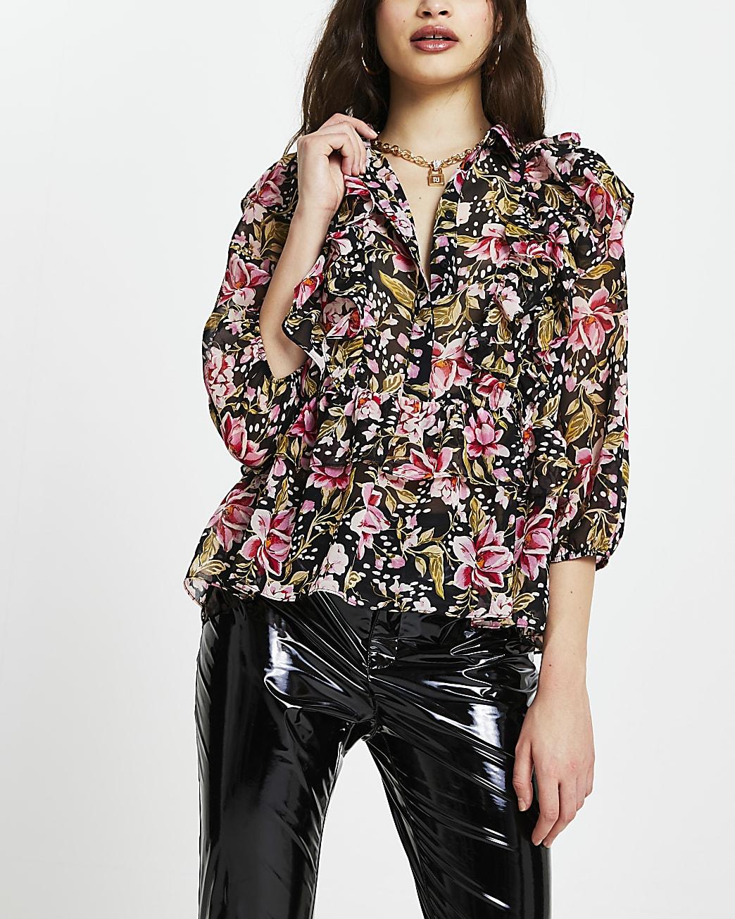 Black floral ruffle shirt top