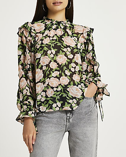 Black floral ruffled blouse