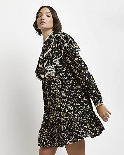 Black floral ruffled mini dress