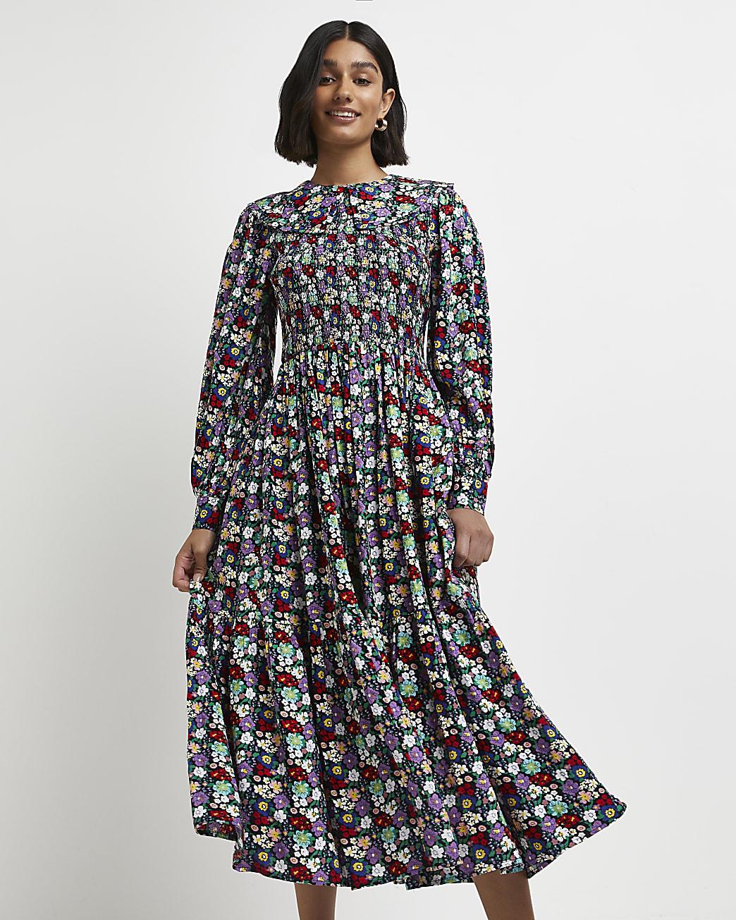 Black floral shirred midi dress