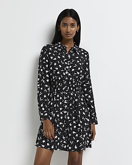 Black floral shirred mini dress