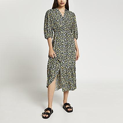 Black floral shirred shirt dress