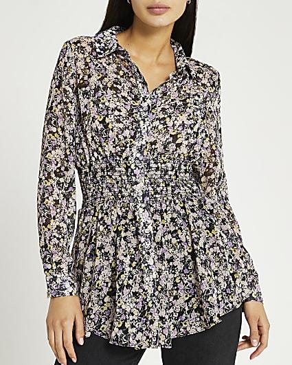 Black floral shirred shirt