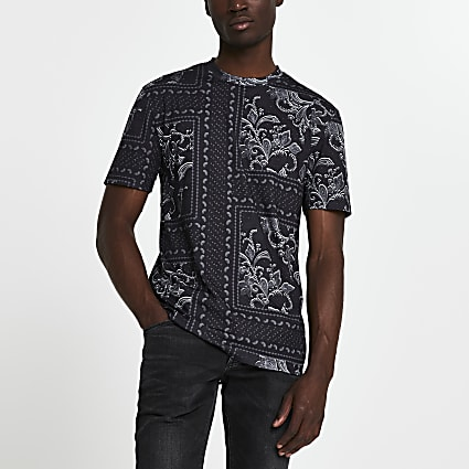 Black floral slim fit short sleeve t-shirt