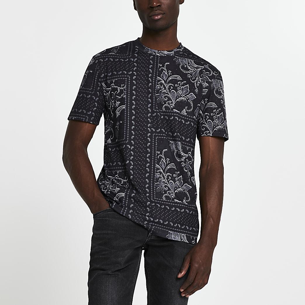 Black floral slim fit short sleeve t-shirt