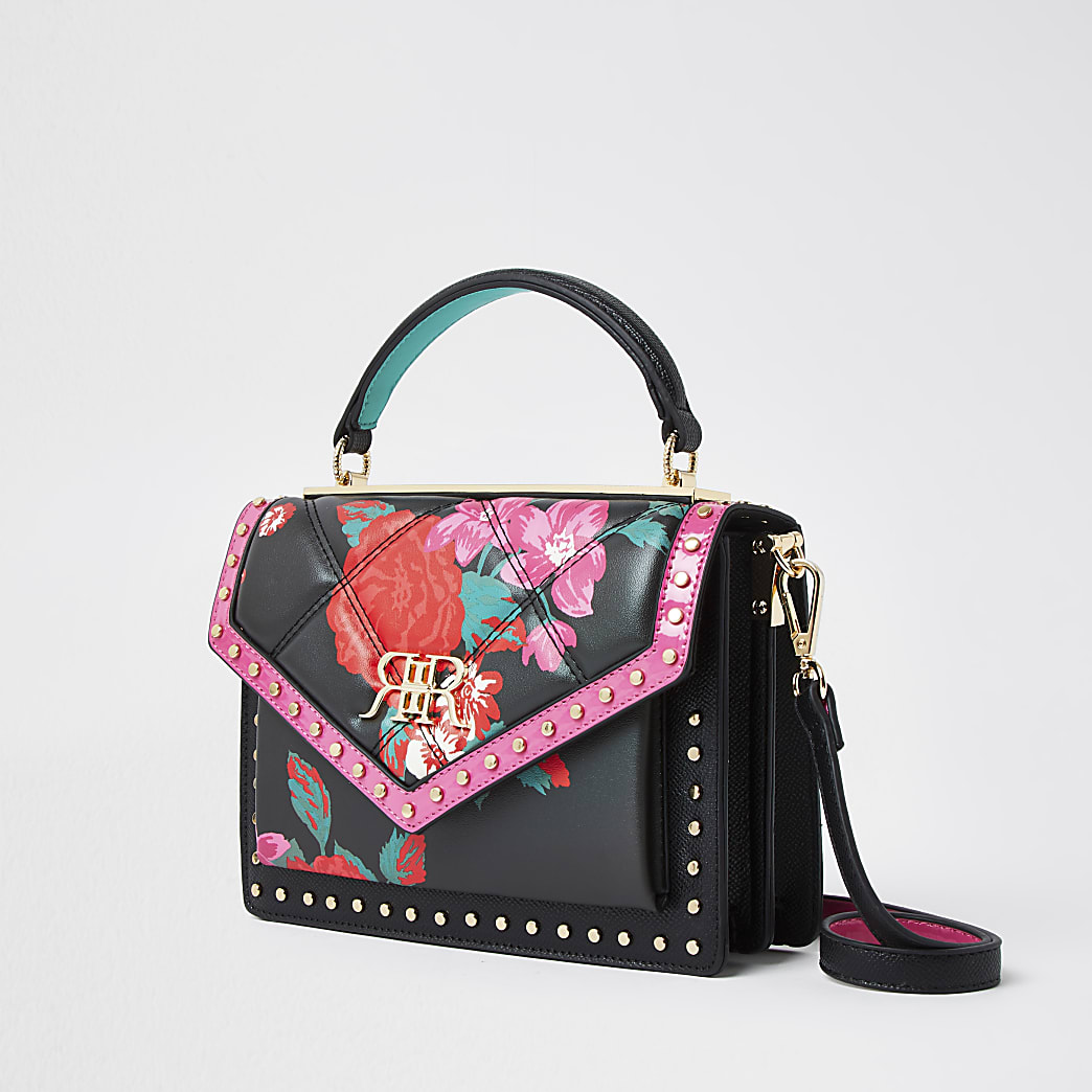 Black floral studded satchel handbag