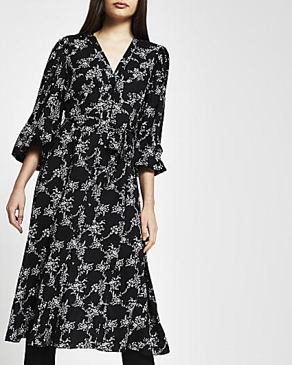 Black floral tie waist midi dress