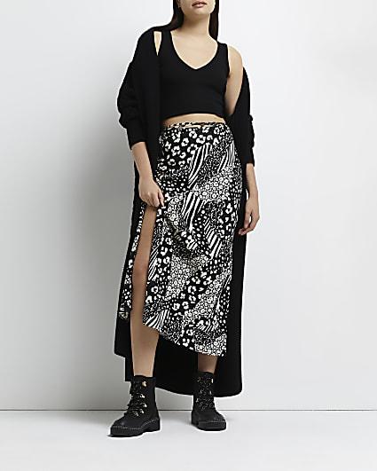 Black floral tie waist midi skirt