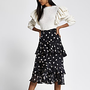 Black floral tiered frill midi skirt