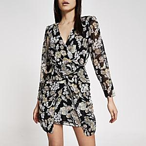 Mini-robe à col V torsadée fleurie noire
