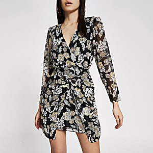 Zwarte mini-jurk met bloemenprint en gedraaide voorkant en V-hals