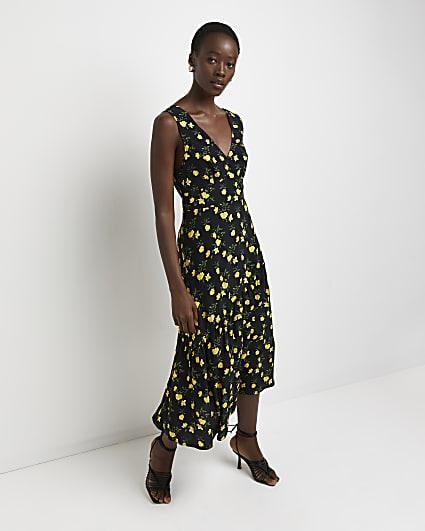 Black floral v-neck midi dress
