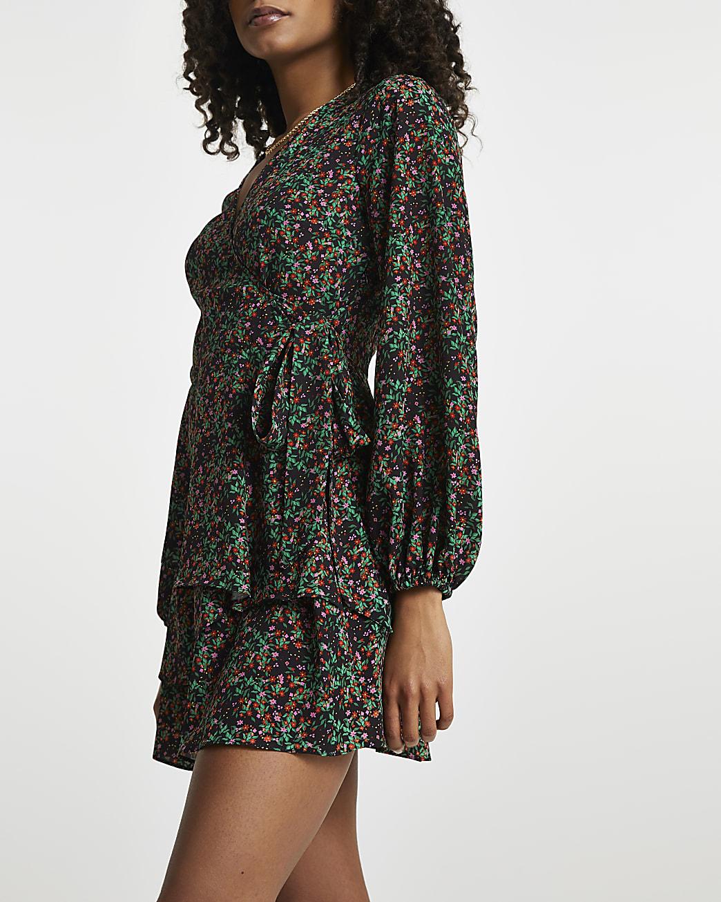 Black floral wrap dress