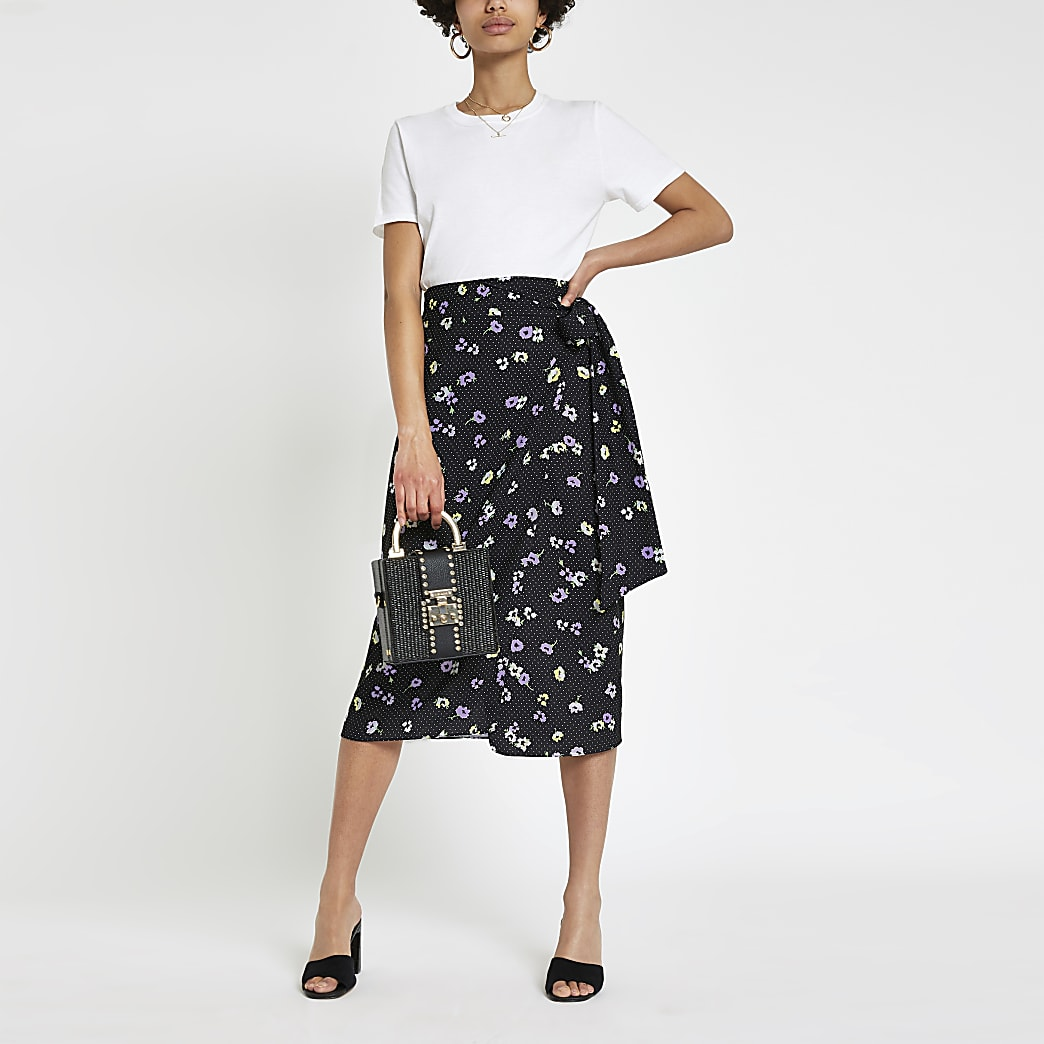 Black floral wrap midi skirt