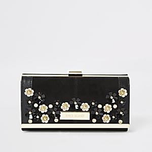 Zwarte portemonnee met druksluiting en bloemenmotief