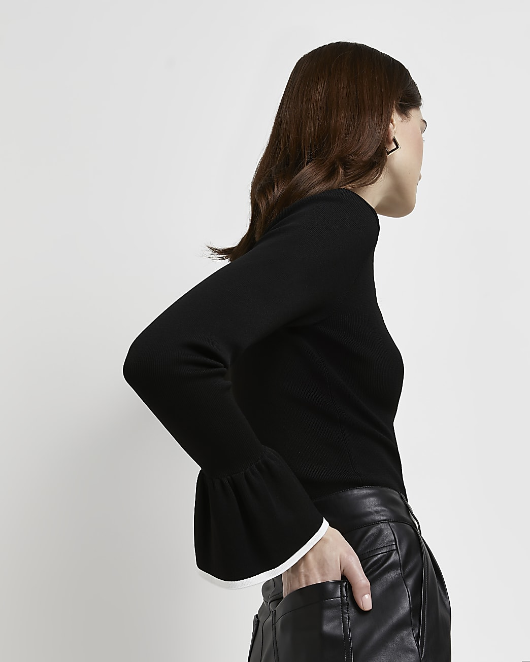 Black flute sleeve top