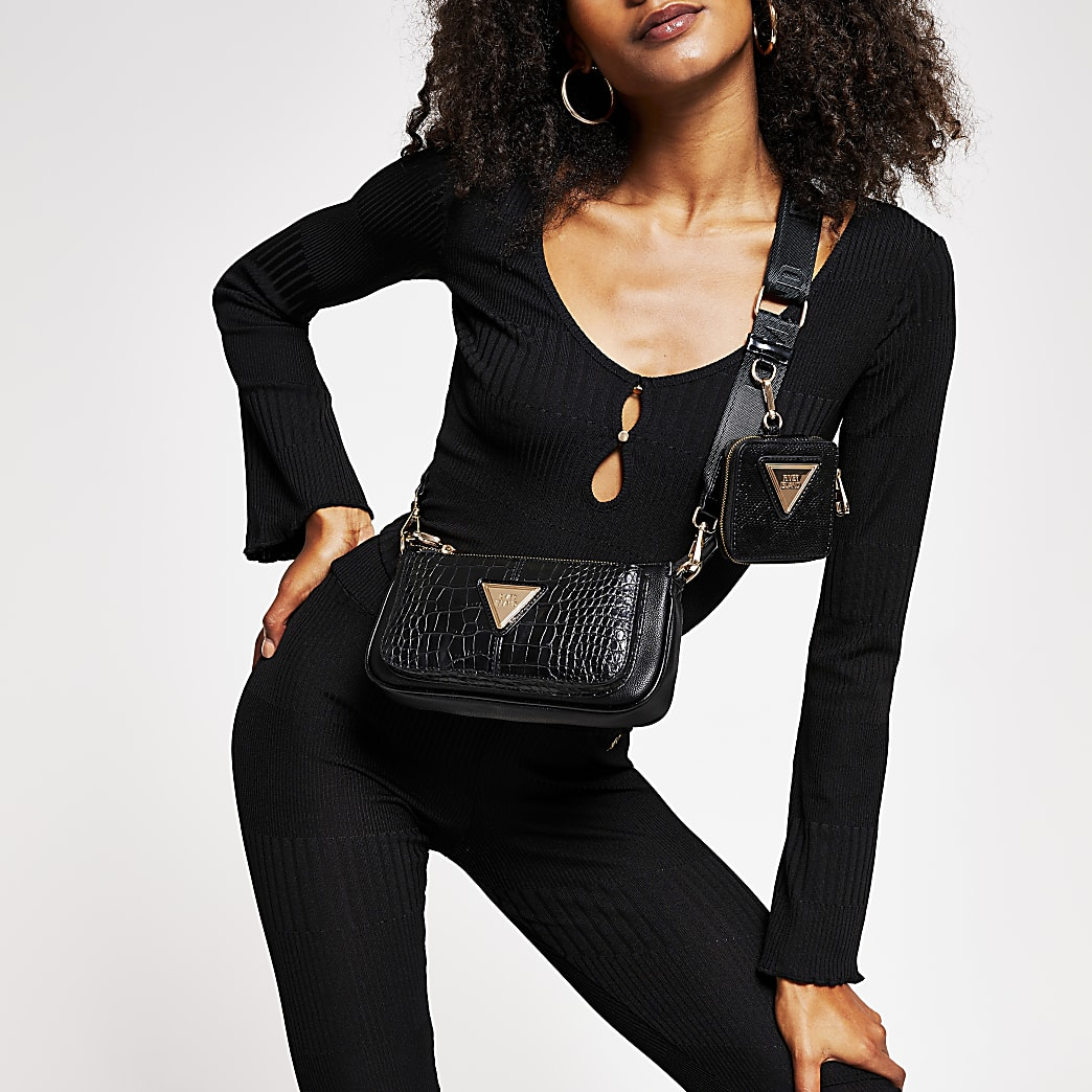 Black fluted sleeve keyhole crop top