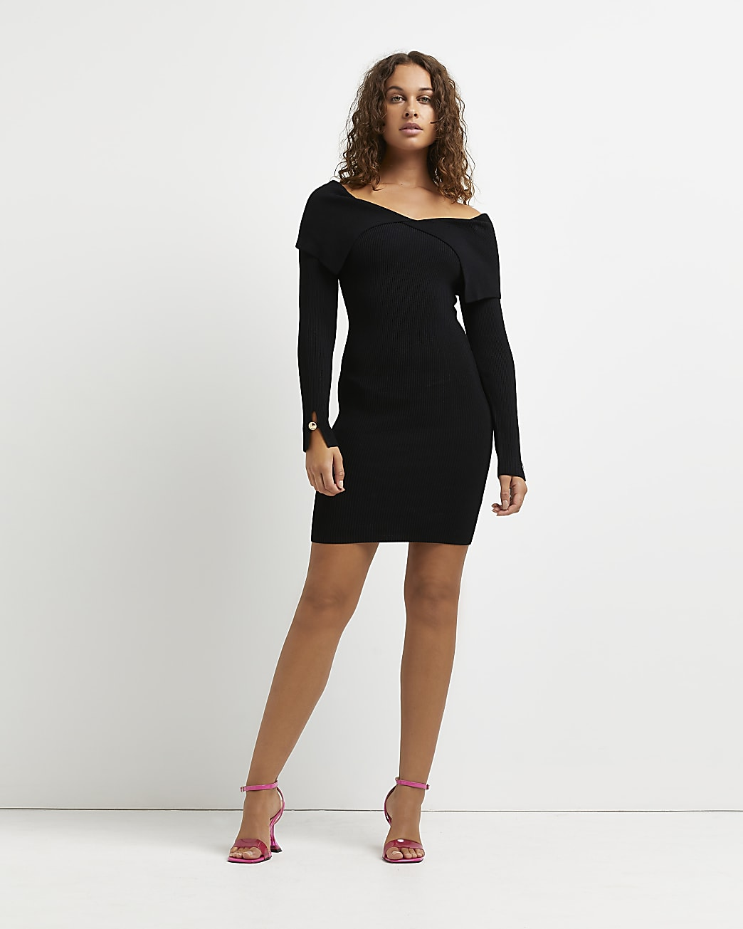 Black fold over neck bodycon mini dress