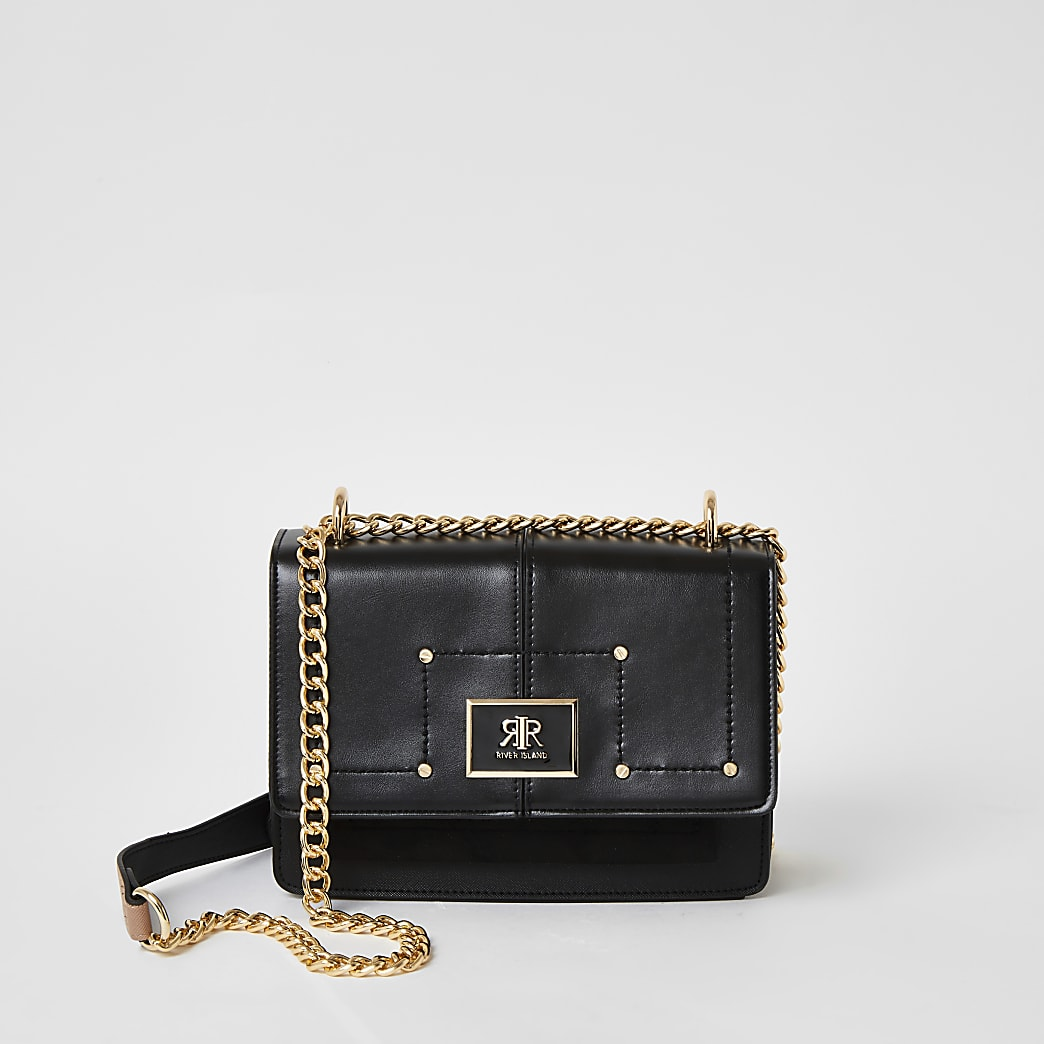 Black foldover crossbody satchel bag