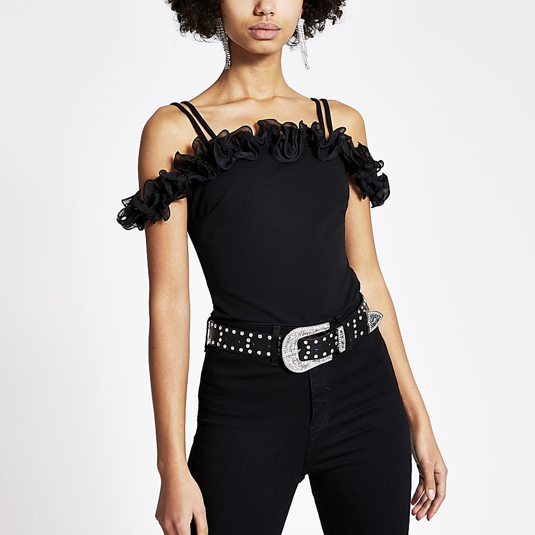 Black frill bardot jersey top