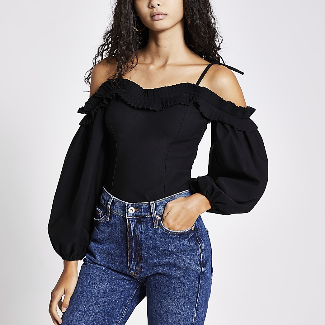 Black frill bardot long volume sleeve top